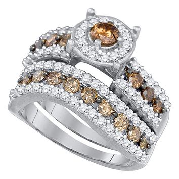 10kt White Gold Women's Round Cognac-brown Color Enhanced Diamond Bridal Wedding Engagement Ring Band Set 1-3/4 Cttw - FREE Shipping (US/CAN)