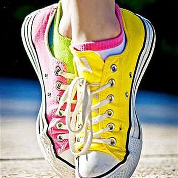 CREYUG7 Adult Converse All Star Low-Top Sneakers Fresh yellow pink