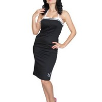 Steady Clothing Pinup Black Sailor Pencil Halter Dress with Sparrow Embroidery