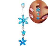 FR335-2 14G Surgical steel summer jewelry dangle Belly Piercing Bar Navel ring