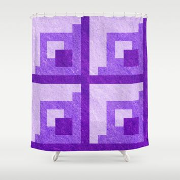 Purple Pixel Blocks Shower Curtain by Likelikes | Society6