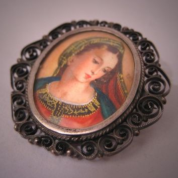 Antique Italian Painted Portrait Pendant Pin European Silver Vintage