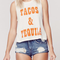 "White ""TACOS & TEQUILA"" Tank Top"