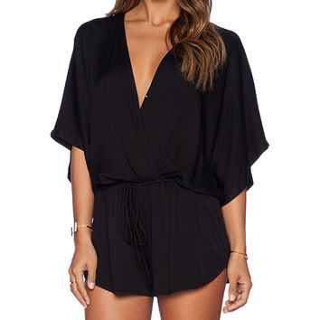 Young, Fabulous & Broke Maddie Romper in Black