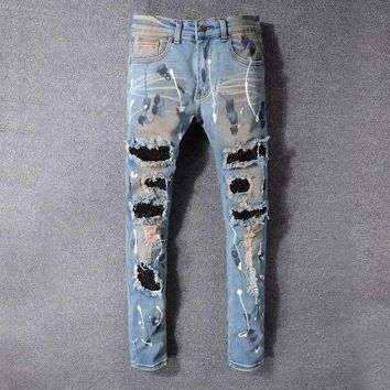 Mens Distressed Embellished Ribbed Stretch Moto Pants