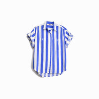 Vintage 90s Striped Blue Shirt / Beach Shirt - women's medium