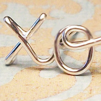 "Cartilage Earring, xo ""hug & kiss"" Earring, Sterling Silver or Gold Filled"