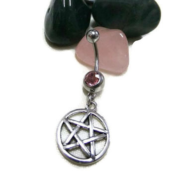 Silver Pentagram Navel Ring,  Silver & Pink Belly Ring, Pentacle Belly Ring, Pink Crystal NavelRing, Boho BellyRing, Wiccan NavalRing,Hippie