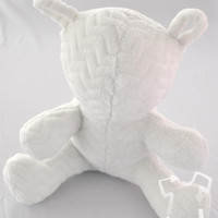 Christening Teddy Baby Blessing gift pure white soft fuzzy rattle teddy bear