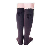 Organic Cotton Knee High School Socks With Bow - Grey Made from 100% GOTS certified organic cotton