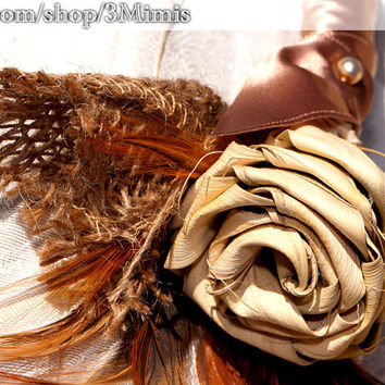 Boutonniere Feather Burlap Saw Grass Flower- Prom- Wedding Boutonniere