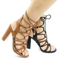 Morris11 Open Toe Looped Lace Up Leg Wrap Chunky Heel Sandals