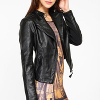 Faux Leather Zipper Jacket