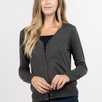 Classic Cardigan in Charcoal