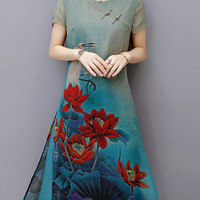 Vintage Women Printed Short Sleeve Chinese Style Dresses