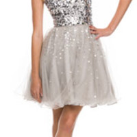 2014 Prom Dresses - Silver Sequin & Tulle Short Prom Dress