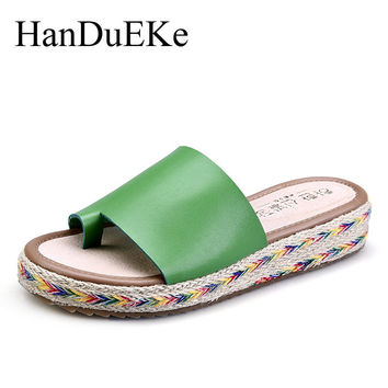 HanDuEKe New 2017 Fashion Flip Flops Women Beach Slippers Summer Gladiator Sandals Women Casual Shoes Woman Platform Sandals