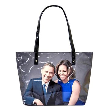 The Obama's Magazine Print Vegan Patent Leather Tote Bag