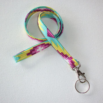 Lanyard  ID Badge Holder -  Lobster clasp and key ring New Thinner Design - Aztec Southwestern Native Tribal pink aqua Print