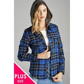 Plus size hoodie plaid shirt