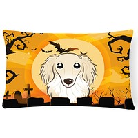 Halloween Longhair Creme Dachshund Fabric Decorative Pillow BB1770PW1216