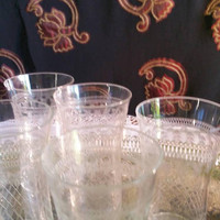 Pall Mall Lady Hamilton glasses /Edwardian delicate etched glassware /small sized liqueur /Port/sherry glasses