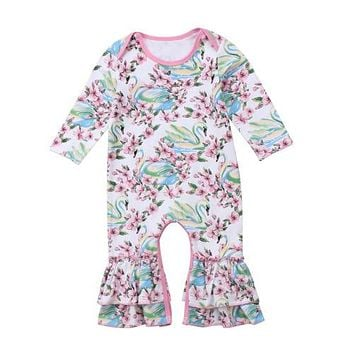 Flower Swan Baby Rompers One Piece Toddler Infant Newborn Baby Girl Long Romper Jumpsuit Spring Summer Clothes Outfits Ruffles