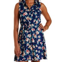Navy Combo Floral Print Sleeveless Shirt Dress by Charlotte Russe