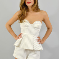 Finders Keepers Revelation Pinstripe Bustier Playsuit