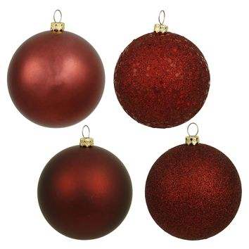 "Vickerman 315736 - 6"" Burgundy 4 Finish Matte Shiny Sequin Glitter Ball Christmas Tree Ornaments (set of 4) (N591505BX) - Walmart.com"