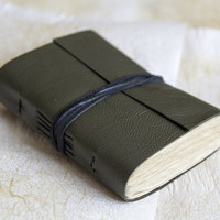 Reclaimed leather journal, leather notebook, travel journal, travel notebook, leather diary, hand bound blank book khaki green