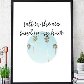 Salt in the air sand in my hair, scandinavian print, minimalist print, wall art printable, modern print, modern wall art, nordic design