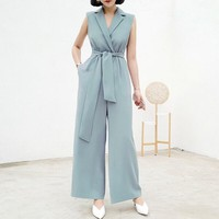 HCXX 19July 768 Valentino Femininity suit collar sleeveless lace-up waist Loose Pants  trousers jumpsuit Overalls