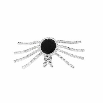 Vintage Eisenberg Ice Rhinestone Spider Brooch, Black Faceted Glass
