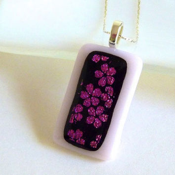 Fused Glass Pendant with Cherry Blossoms over Pale Pink