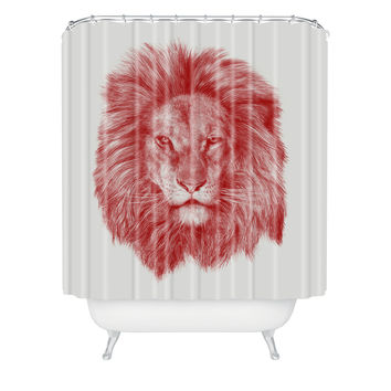 Eric Fan Red Leo Shower Curtain