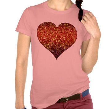 T-Shirt Glitter Graphic Heart Red