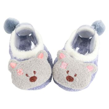 Free Shipping Coral fleece Cute Cartoon Baby Shoes Soft Animal Pattern Boys Girls Floor Baby First Walkers A