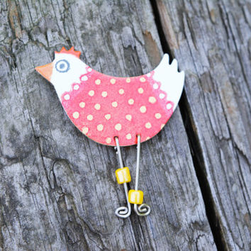 Animal Badge, Animal Jewelry, Quirky Chicken Brooch, Silly Jewelry, Odd Jewelry, Strange Jewelry, Silly Badge, Colorful Badge, Animal Pin