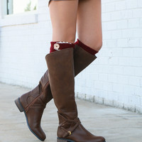 Very Volatile Cabernet Brown Riding Boot With Cross Strap Accents