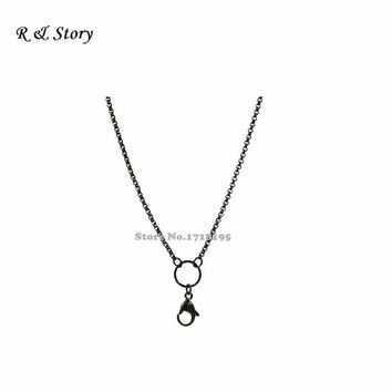 Stainless steel rolo chains for floating lockets,black floating locket chains LFH_043