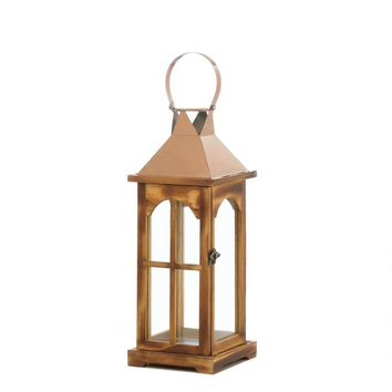 Metal Rose Gold Wooden Candle Holder Lantern