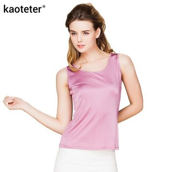 100% Real Silk Women Tank Tops Femme O-Neck Tee Shirt Tops Women Sleeveless Candy Color Female Basic Wild Causal Vest Top Shirts