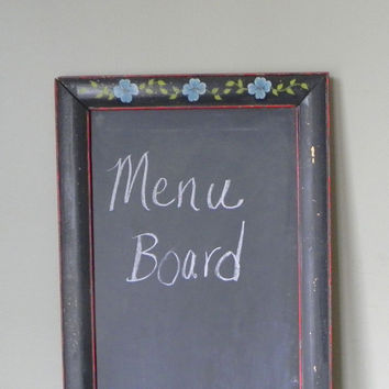 Vintage black framed folk painted chalkboard long and narrow hand painted repurposed