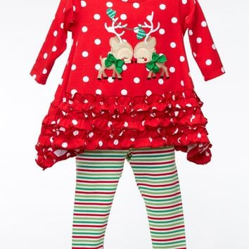 Baby Girl Red Polka-Dot Reindeer Ruffle Top with Stripe Leggings