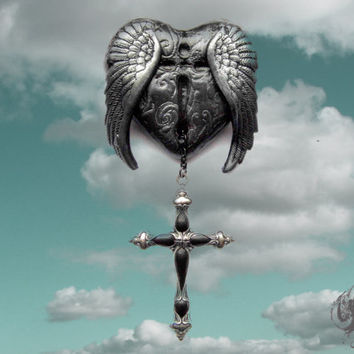 The Sorrow of Icarus gothic brooch - polymer clay and silver plated brass crucifix - fantasy greek mythology story black jewellery