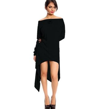 Zara Sexy Off The Shoulder High Low Tunic Dress