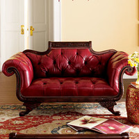 Red Tufted-Leather Loveseat