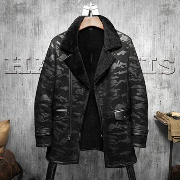 B3 Jacket Men's Shearling Leather Jacket Black Camouflage  Original Flying Jacket  Men's Fur Coat  Long Pilots Coat