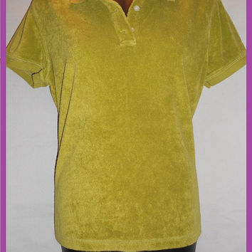 Vintage 80s Terry Cloth Puce Green Womens Polo Collared Shirt Jones New York Large